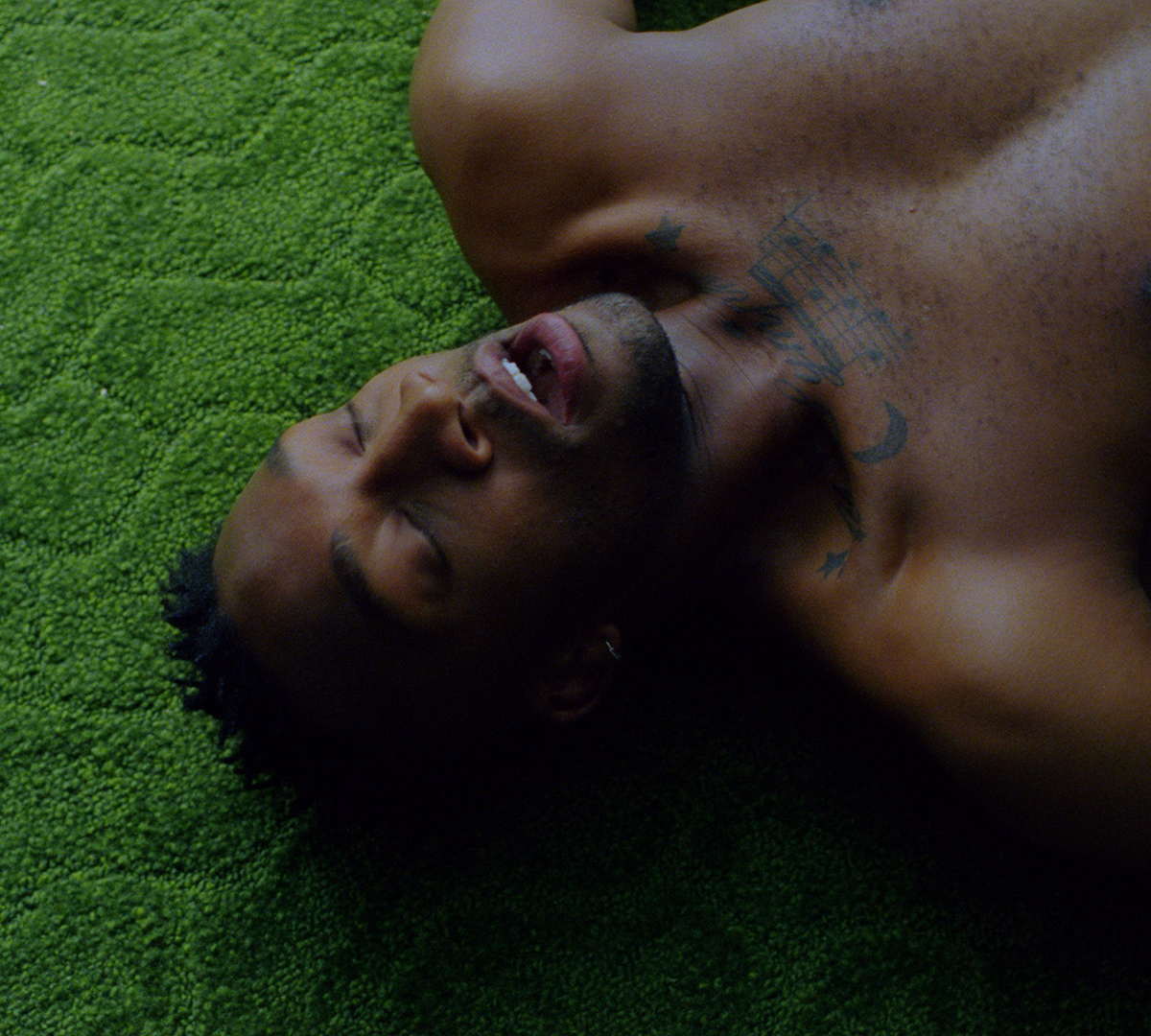 En ung barbröstad man ligger på en grön heltäckningsmatta och njuter med särade läppar.