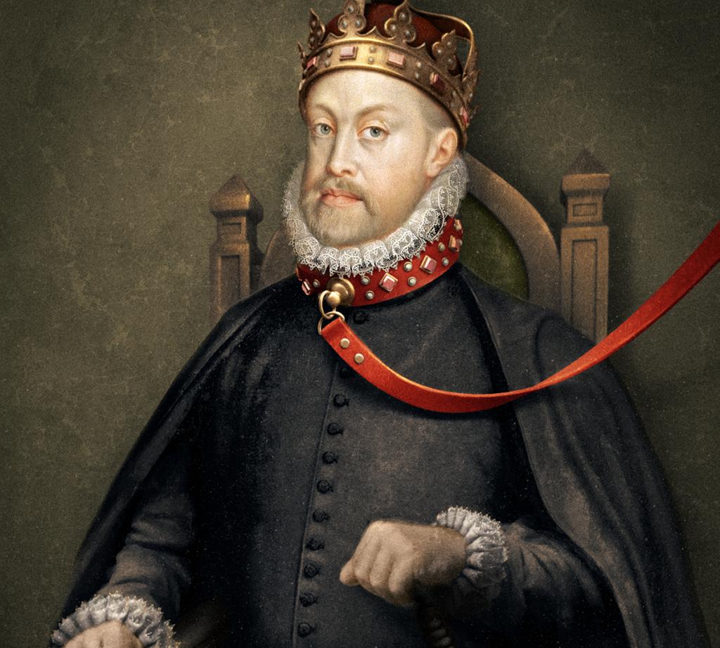 Ett gammeldags porträtt av en kung hållen i ett koppel.